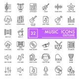 Línea fina iconos de la música fijados Iconos del vector aislados en blanco EPS 10 stock de ilustración