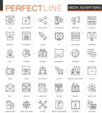 Línea fina iconos de la medios publicidad del web fijados Diseño de los iconos del movimiento del esquema Fotos de archivo libres de regalías