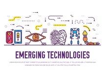 Línea fina iconos de la tecnología fijados Paquete del vector de la tecnología de la inteligencia artificial de la automatización libre illustration