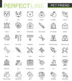 Línea fina iconos del amigo del animal doméstico del web fijados Diseño del icono del esquema del movimiento de la tienda de anim imagen de archivo