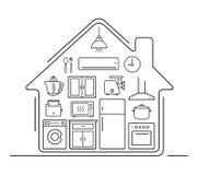 Línea fina iconos del artículos de cocina moderno Imagenes de archivo