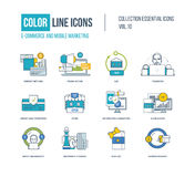 Línea fina iconos del color fijados Imagenes de archivo