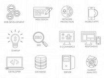 Línea fina iconos del desarrollador de software del programador fijados Fotografía de archivo libre de regalías