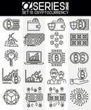 Línea fina iconos del diseño de Cryptocurrency Foto de archivo libre de regalías
