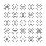 Línea fina iconos del juego clásico fijados Imagen de archivo libre de regalías