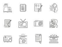 Línea fina iconos del periodismo del estilo Imagen de archivo libre de regalías