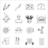 Línea fina iconos del servicio de reparación del coche del mecánico de automóviles fijados Fotos de archivo libres de regalías