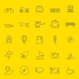 Línea fina iconos del transporte y del viaje Fotos de archivo