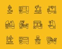 Línea fina iconos del vector de la máquina-herramienta Imagen de archivo