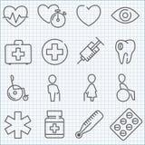 Línea fina iconos del vector de la medicina fijados stock de ilustración