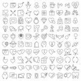 Línea fina iconos del vector de la tarjeta del día de San Valentín fijados Imagen de archivo