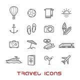 Línea fina iconos del viaje y del ocio Imágenes de archivo libres de regalías
