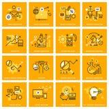 Línea fina iconos del web del márketing y de la publicidad de Internet ilustración del vector