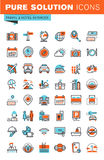 Línea fina iconos del web para el viaje y el turismo Fotografía de archivo