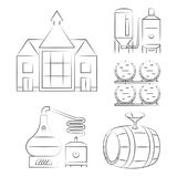 Línea fina iconos del whisky - resuma los logotipos de proceso del whisky Foto de archivo