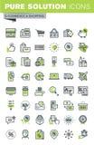 Línea fina iconos fijados de compras en línea Imagenes de archivo