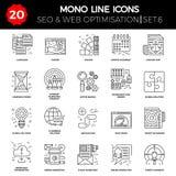 Línea fina iconos fijados de la optimización del Search Engine libre illustration
