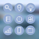 Línea fina iconos fijados Icono azul para el negocio, gestión, finanzas, estrategia, planeamiento, analytics, actividades bancari libre illustration