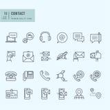 Línea fina iconos fijados Iconos para la comunicación