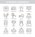 Línea fina iconos para assistir a conferencia Ilustración del Vector