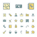 Línea fina iconos para el negocio, las finanzas y las actividades bancarias Fotografía de archivo