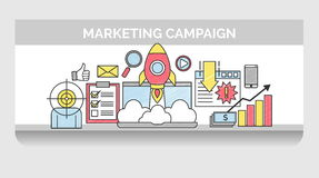 Línea fina iconos para la campaña de marketing de Internet Ilustración del Vector
