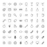 Línea fina iconos para la comida y las bebidas Imágenes de archivo libres de regalías