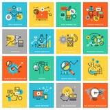 Línea fina iconos planos del diseño para el márketing digital