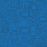 Línea fina Internet de modelo azul marino inconsútil de las cosas ilustración del vector