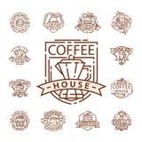 Línea fina letras de la comida de la insignia del café para el restaurante, el café del menú del café y el vector de la etiqueta  ilustración del vector