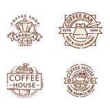 Línea fina letras de la comida de la insignia del café para el restaurante, el café del menú del café y el vector de la etiqueta  stock de ilustración