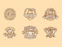 Línea fina letras de la comida de la insignia del café para el restaurante, el café del menú del café y el vector de la etiqueta  libre illustration