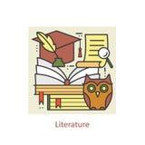 Línea fina literatura y educación del concepto, conocimiento y estudio del color moderno ilustración del vector