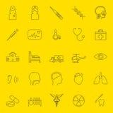 Línea fina médica iconos Imágenes de archivo libres de regalías
