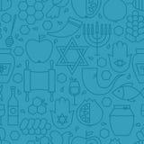 Línea fina modelo inconsútil azul de Rosh Hashanah del día de fiesta Fotografía de archivo