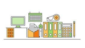 Línea fina moderna diseño plano de la animación de sistema de los iconos fondo del esquema de la oficina stock de ilustración