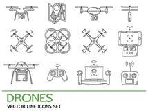 Línea fina moderna fijada con los abejones Colección de los iconos con el quadrocopter, hexacopter, multicopter hecho en la línea Imagen de archivo libre de regalías