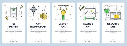 Línea fina moderna sistema vertical del vector de la bandera del web del diseño del ui libre illustration