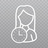 Línea fina mujer con el icono del reloj Ahorre la fecha en fondo transparente ilustración del vector