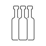 Línea fina negra botellas Imagenes de archivo