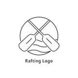 Línea fina negra que transporta el logotipo en balsa Fotos de archivo