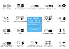 Línea fina perfecta iconos del pixel y sistema de símbolos para la inteligencia artificial/AI Imagen de archivo