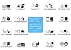 Línea fina perfecta iconos y símbolos del pixel para profundamente aprender stock de ilustración