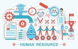 Línea fina plana moderna concepto del recurso humano del diseño stock de ilustración