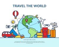 Línea fina plana moderna ejemplo colorido del vector del diseño, concepto de viajar en todo el mundo, viaje y viaje a libre illustration