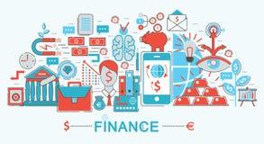 Línea fina plana moderna finanzas del diseño y concepto de las actividades bancarias Imagen de archivo libre de regalías