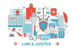 Línea fina plana moderna ley del diseño y concepto de la justicia para el sitio web, la presentación, el aviador y el cartel de l Fotografía de archivo libre de regalías