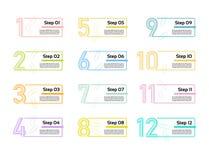 Línea fina plantilla mínima del diseño de Infographic 12 opciones, pasos Puede ser utilizado para el diagrama de proceso, present stock de ilustración