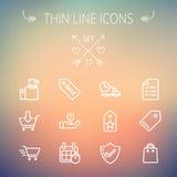 Línea fina que hace compras sistema del negocio del icono Imagenes de archivo