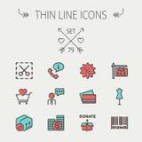 Línea fina que hace compras sistema del negocio del icono Imagen de archivo libre de regalías